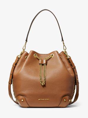 마이클 마이클 코어스 Michael Michael Kors Alanis Large Pebbled Leather Bucket Bag,ACORN