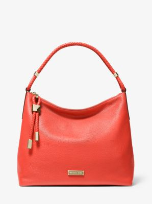 마이클 마이클 코어스 Michael Michael Kors Lexington Large Pebbled Leather Shoulder Bag,CORAL