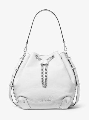 마이클 마이클 코어스 Michael Michael Kors Alanis Large Pebbled Leather Bucket Bag,OPTIC WHITE