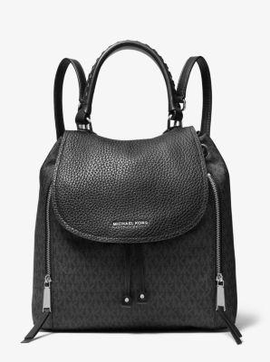 마이클 마이클 코어스 백팩 Michael Michael Kors Viv Large Logo and Leather Backpack,BLACK