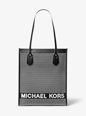 마이클 마이클 코어스 Michael Michael Kors Bay Large Woven Canvas Tote Bag,BLACK/WHITE