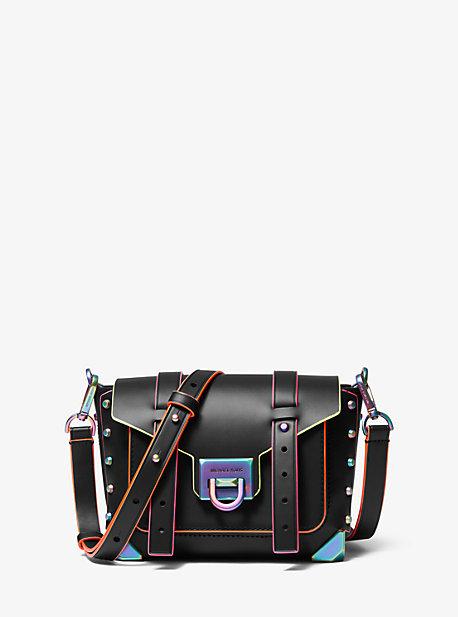 Manhattan Small Contrast-Trim Leather Crossbody Bag