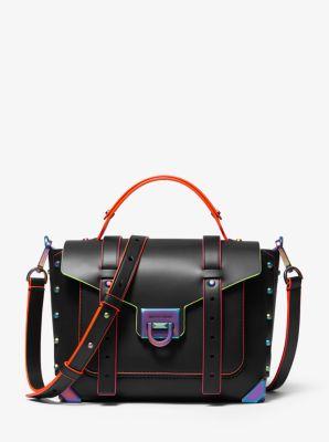 마이클 마이클 코어스 Michael Michael Kors Manhattan Medium Contrast-Trim Leather Satchel,BLACK