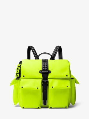 마이클 마이클 코어스 올리비아 백팩 미디움 Michael Michael Kors Olivia Medium Studded Neon Satin Backpack,ACID YELLOW