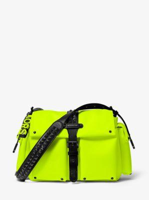 마이클 마이클 코어스 Michael Michael Kors Olivia Large Studded Neon Satin Messenger Bag,ACID YELLOW