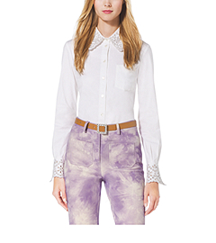 Crystal-Embellished Eyelet Stretch-Cotton Shirt