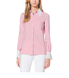 Eyelet-Embroidered Cotton-Poplin Shirt