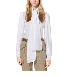 Pleat-Sleeve Silk-Georgette Blouse