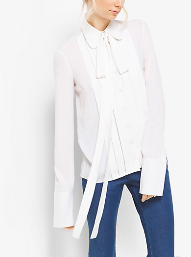Blusa in georgette di seta con fiocco by Michael Kors