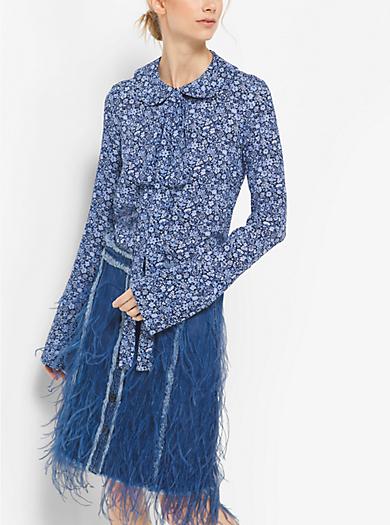 Blusa in georgette di seta floreale con fiocco by Michael Kors
