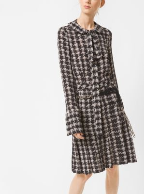 Houndstooth Silk-Georgette Bow Blouse by Michael Kors