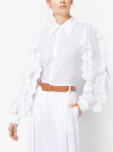 Cotton-Gauze Ruffled Blouse by Michael Kors