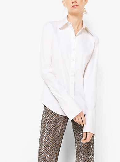 Camicia in popeline di cotone con polsino alla francese by Michael Kors