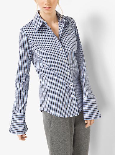 Camicia in popeline di cotone a quadri tattersall by Michael Kors