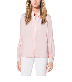 Drop-Sleeve Silk-Georgette Shirt