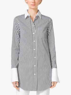 Striped French Cuff Cotton-Poplin Shirt by Michael Kors