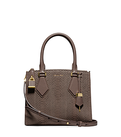 Casey Sueded Snakeskin Small Satchel