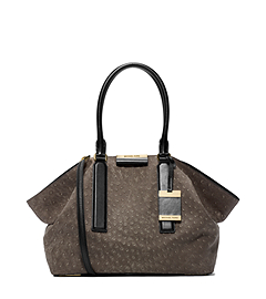 Lexi Sueded-Ostrich Large Satchel