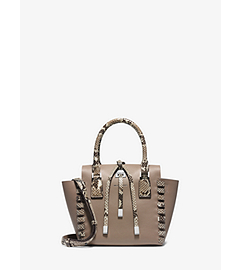 Miranda Python Trimmed-Leather Extra-Small Tote