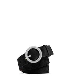 Round-Buckle Suede Belt