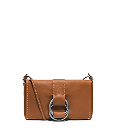 Julie Grained Calf Leather Double-Ring Clutch