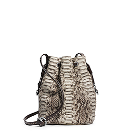 Julie Drawstring Python Small Crossbody
