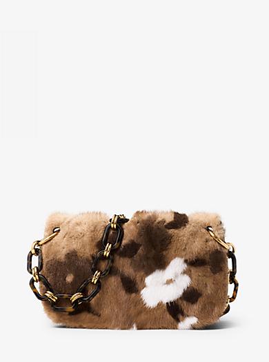 Goldie Floral Intarsia Mink Shoulder Bag by Michael Kors