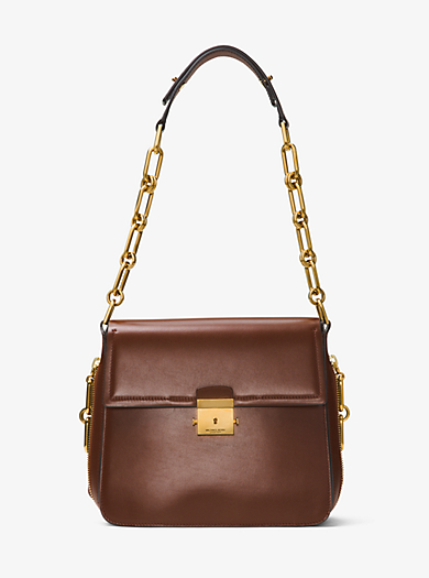 Mia French Calf Leather Shoulder Bag by Michael Kors