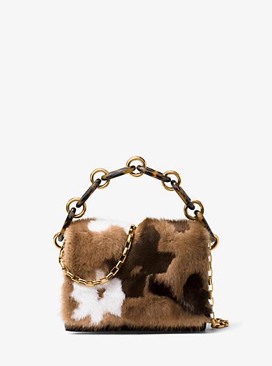 Pochette Yasmeen piccola in pelle e visone con intarsi floreali by Michael Kors