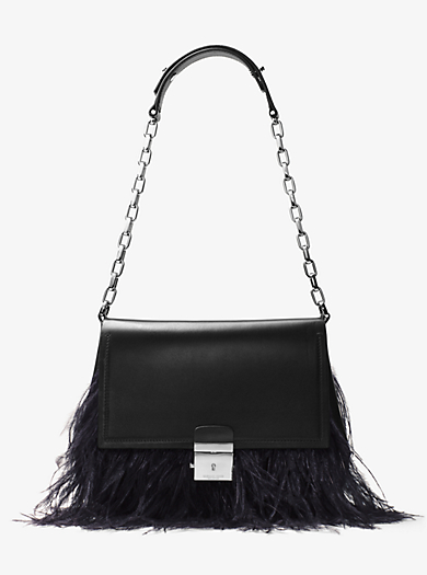 Mia French Calf and Feather Shoulder Bag by Michael Kors