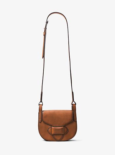 Daria Small French Calf Leather Saddlebag by Michael Kors