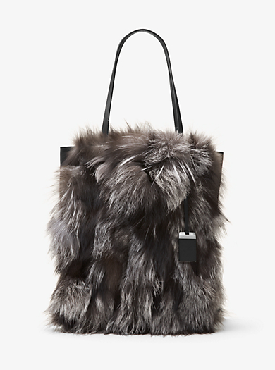 Eleanor Large Fox Fur and Leather Tote by Michael Kors