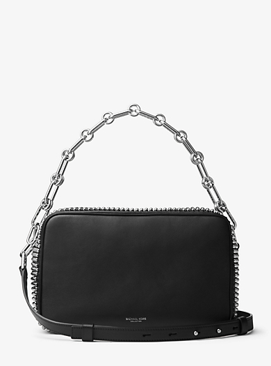 Julie Large Studded French Calf Leather Camera Bag by Michael Kors