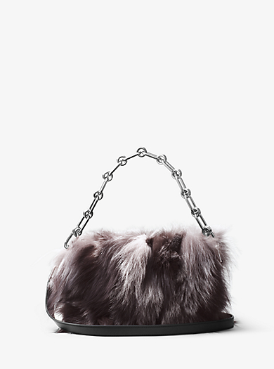 Julie Large Fox Fur and Leather Camera Bag by Michael Kors