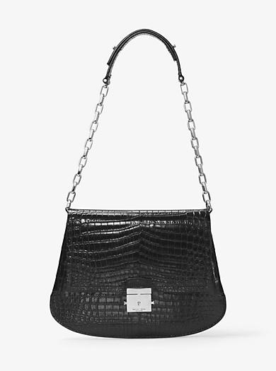 Mia Crocodile Shoulder Bag by Michael Kors