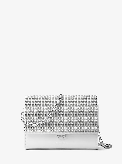 Yasmeen Small Studded Leather Clutch by Michael Kors