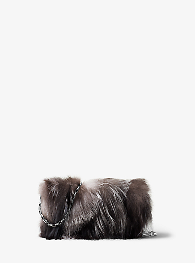 Yasmeen Large Fur and Leather Clutch by Michael Kors
