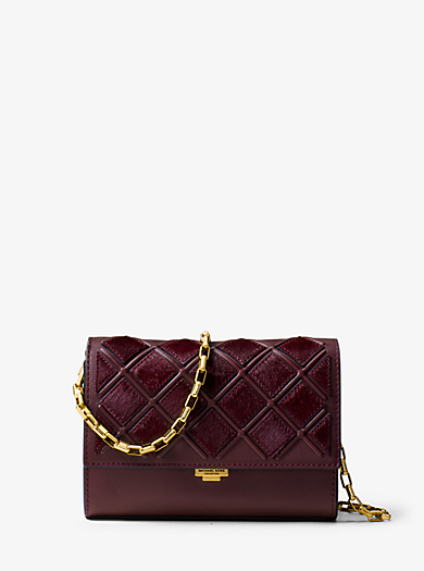 Yasmeen Small French Calf Leather Clutch by Michael Kors