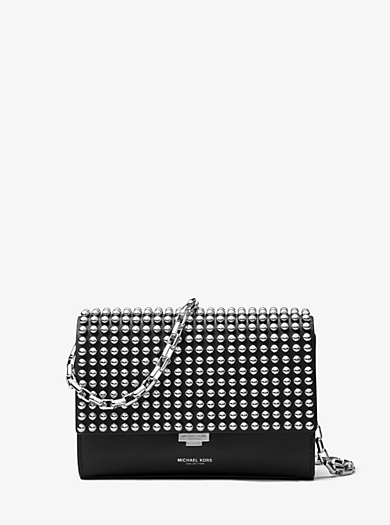 Yasmeen Small Studded French Calf Clutch by Michael Kors