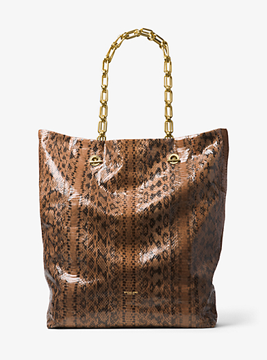 Angelina Extra-Large Snakeskin Tote by Michael Kors