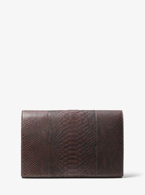 Michael Kors Chrissy Slashed Python Clutch,CHOCOLATE