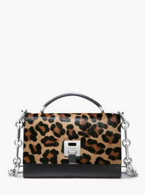 Michael Kors Bancroft Leopard Calf Hair Shoulder Bag,CHINO