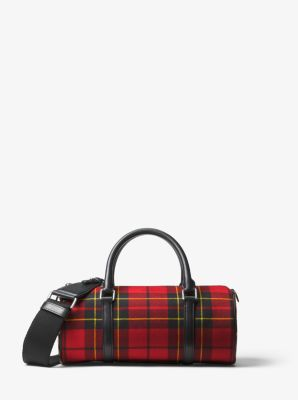 Michael Kors Eva Tartan and Leopard Barrel Bag,CRIMSON