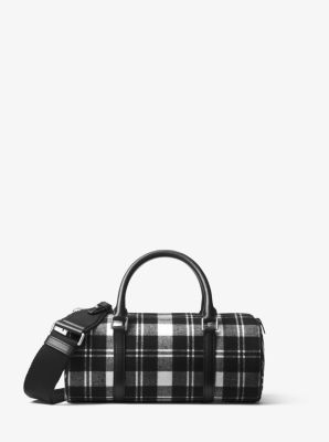 Michael Kors Eva Tartan and Zebra Barrel Bag,BLACK/WHITE