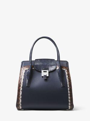 Michael Kors Bancroft Large Calf Leather and Snakeskin Satchel,MARITIME