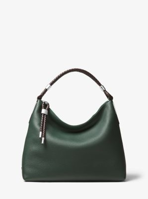 Michael Kors Skorpios Small Pebbled Leather Shoulder Bag,FOREST