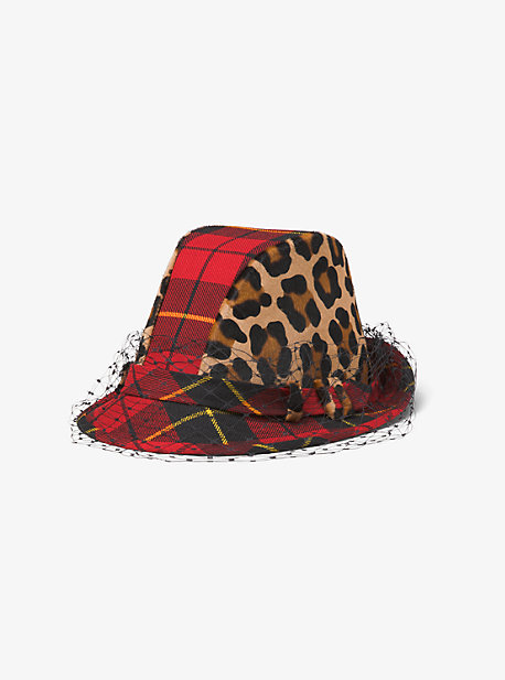 Tartan And Leopard Veil Hat  dfa410ef209a