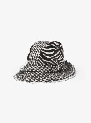 마이클 코어스 Michael Kors Houndstooth and Zebra Veil Hat,BLACK/WHITE