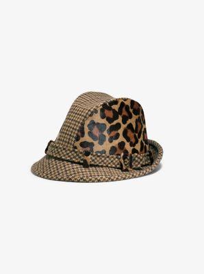마이클 코어스 Michael Kors Houndstooth and Leopard Hat,CHINO
