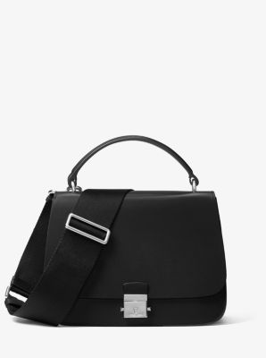 마이클 코어스 미아 사첼백 Michael Kors Mia Calf Leather Shoulder Satchel,BLACK